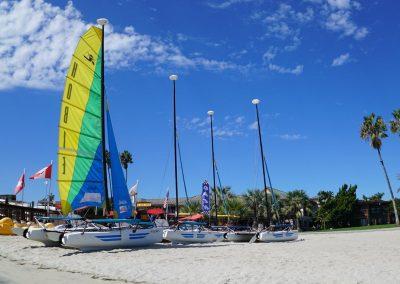 Hobie catamaran boats on the beach