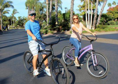Couple riding bikes in San Diego