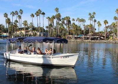 Group of people inside Duffy Boat Rental in San Diego
