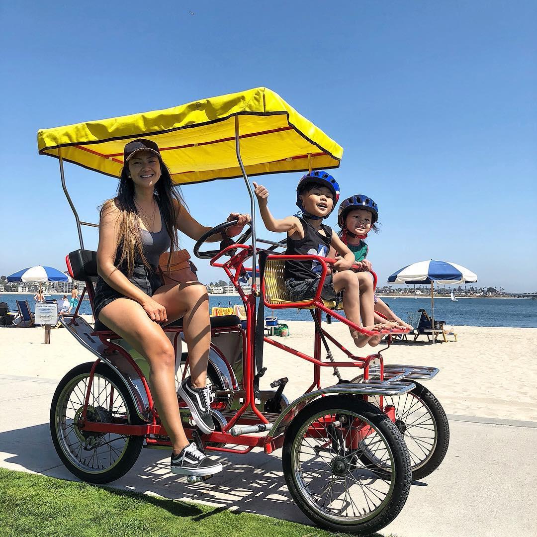 Family on surrey bike rental